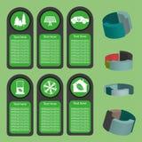 Ekologiczna biznes zieleń infographic z ikonami i 3d sporządza mapę, płaski projekt Obrazy Stock