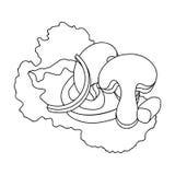 Ekologiczna jarzynowa sałatka Sałatka dla jaroszy Jarscy naczynia przerzedżą ikonę w konturu stylu symbolu wektorowym zapasie Fotografia Stock