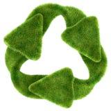 Ekologiczna trwałość: zielona trawa przetwarza symbol ilustracji