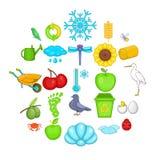 Ekologiczne różnorodność ikony ustawiać, kreskówka styl royalty ilustracja