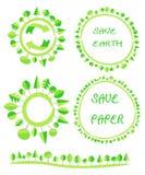 Ekologicznej mieszkanie ziemi zieleni drzewny okrąg przetwarza eco kuli ziemskiej element Zdjęcia Royalty Free