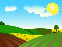 ekologicznie krajobrazowy pomyślny wiejski ilustracja wektor