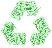 Ekologiczny kolarstwo okrąg tworzący z słowami: przetwarza, przyszłość Obrazy Stock