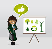 Ekologienergiaffärskvinna Arkivbilder