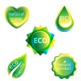 Ekologietikettuppsättning Arkivbilder