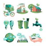 Ekologii Dekoracyjne ikony Ustawiać Obraz Royalty Free