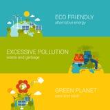 Ekologii eco zanieczyszczenia zieleni życzliwej planety sieci płaski szablon ilustracji