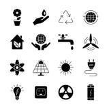 Ekologii i energii ikony Ogólnoludzka ikona używać w sieci i m Zdjęcia Royalty Free