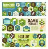 Ekologii i zieleni eco sztandaru energetyczny projekt Obrazy Royalty Free