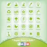 Ekologii ikony ustawiać. Zieleni środowisko symbole. Fotografia Stock