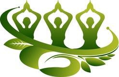 Ekologii joga grupowy logo royalty ilustracja