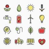 Ekologii kreskowe ikony Zdjęcia Royalty Free