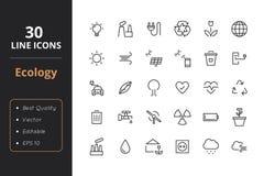 30 ekologii Kreskowych ikon Obraz Stock