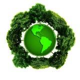 Ekologii planeta z z drzewami wokoło ziemski eco Obraz Stock