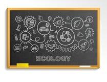 Ekologii ręki remis integrował ikony ustawiać na szkolnym blackboard royalty ilustracja