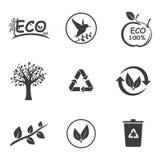 Ekologii ustalone ikony Zdjęcia Royalty Free