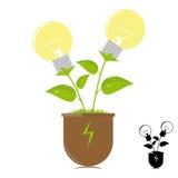 Ekologilampor på växten vektor illustrationer