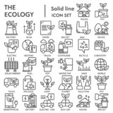 Ekologilinjen symbolsuppsättningen, miljösymboler samlingen, vektor skissar, logoillustrationer, linjära pictograms för ecotecken vektor illustrationer