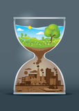 Ekologimedvetenhettimglas Stock Illustrationer