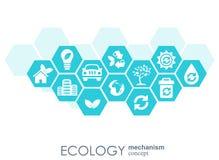 Ekologimekanismbegrepp Abstrakt bakgrund med förbindelsekugghjul och symboler för ecovänskapsmatchen, energi, miljö Fotografering för Bildbyråer