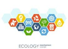 Ekologimekanismbegrepp Abstrakt bakgrund med förbindelsekugghjul och symboler för ecovänskapsmatchen, energi, miljö Arkivfoto