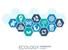 Ekologimekanismbegrepp Abstrakt bakgrund med förbindelsekugghjul och symboler för ecovänskapsmatchen, energi, miljö Royaltyfri Foto
