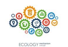Ekologimekanismbegrepp Abstrakt bakgrund med förbindelsekugghjul och symboler för ecovänskapsmatchen, energi, miljö Arkivbilder