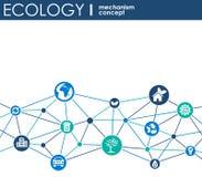 Ekologimekanismbegrepp Abstrakt bakgrund med förbindelsekugghjul och symboler för ecovänskapsmatchen, energi, miljö, gräsplan, re Arkivfoto
