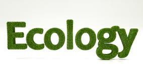 EKOLOGIord för tolkning som 3D göras av grönt gräs royaltyfri illustrationer