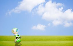 Ekologisk miljö för robotbegrepp royaltyfri illustrationer