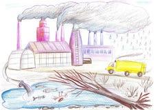 Ekologisk teckning på temat av miljöbelastning Royaltyfri Bild