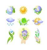 ekologiska miljöhögt symboler för detaljerad eco Arkivbilder