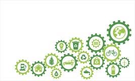 Ekologiska symboler för Infography tandhjul stock illustrationer