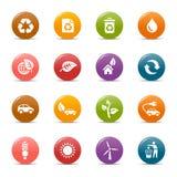 ekologiska symboler för kulöra prickar Arkivfoton