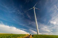 Ekologiska vindturbiner i en äng som alternativ energi Fotografering för Bildbyråer