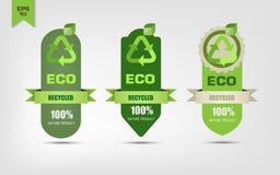 Ekologiskt återanvänd etiketter stock illustrationer