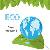 Ekologiskt begrepp med gräsplansidor och blå planetjord med vektor illustrationer