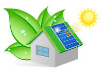 Ekologiskt hus stock illustrationer