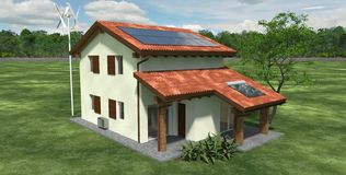 Ekologiskt hus Arkivbilder