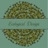 Ekologiskt kort med indisk stylizationlotusblomma Royaltyfri Bild