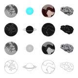 Ekologiskt, krisen, konstellation och annan rengöringsduksymbol i tecknad film utforma Kosmos kroppar, planetsymboler i uppsättni vektor illustrationer
