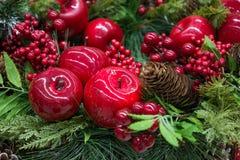 ekologiskt trä för julgarneringar jul min version för portföljtreevektor Arkivfoto