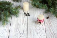 ekologiskt trä för julgarneringar stearinljus Royaltyfri Fotografi