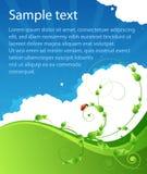 Ekologisommaraffisch med modeller och nyckelpigan vektor illustrationer