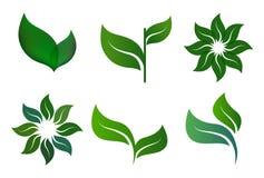 Ekologisymbolslogo vektor illustrationer