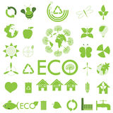 Ekologisymbolsset. Eco-symboler stock illustrationer