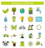 Ekologisymbolsuppsättning i tecknad filmstil Arkivfoto
