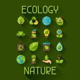 Ekologiuppsättning av miljö- och föroreningsymboler Royaltyfria Foton