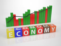 Ekonomi - serieord ut ur Letterdices Royaltyfria Bilder