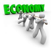 Ekonomiordet drog vid kunder som arbetare förbättrar finansiella Growt stock illustrationer